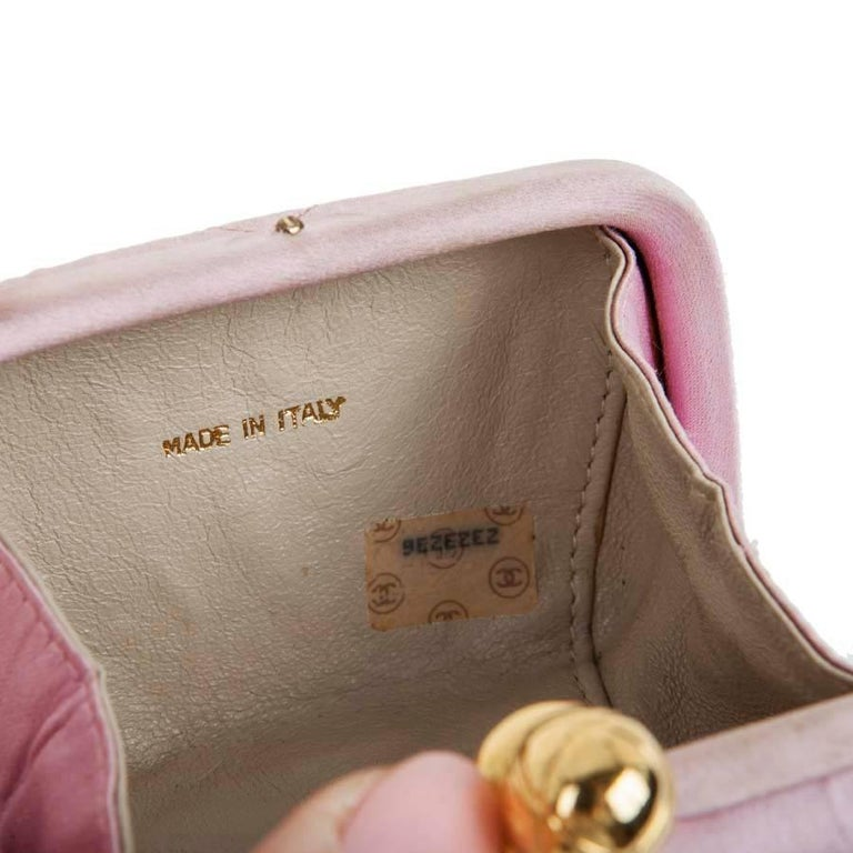 CHANEL Minaudière in Pale Pink Quilted Silk Satin For Sale 3