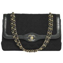 Vintage CHANEL 'Timeless' Double Flap Bag in Black Leather and Jersey
