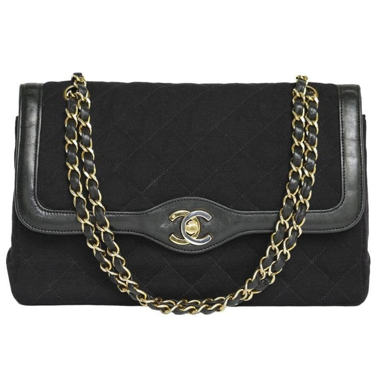 bb32456d7ad8df Vintage CHANEL 'Timeless' Double Flap Bag in Black Leather and Jersey ...