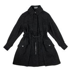 CHANEL Coat in Black Wool Tweed Size 38/40FR