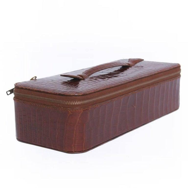 Women's Vintage HERMES Jewelry Box in Brown Crocodile For Sale