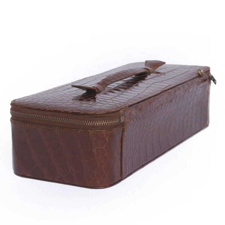 Vintage HERMES Jewelry Box in Brown Crocodile For Sale 1