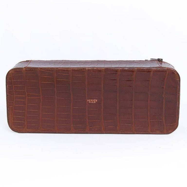 Vintage HERMES Jewelry Box in Brown Crocodile For Sale 2