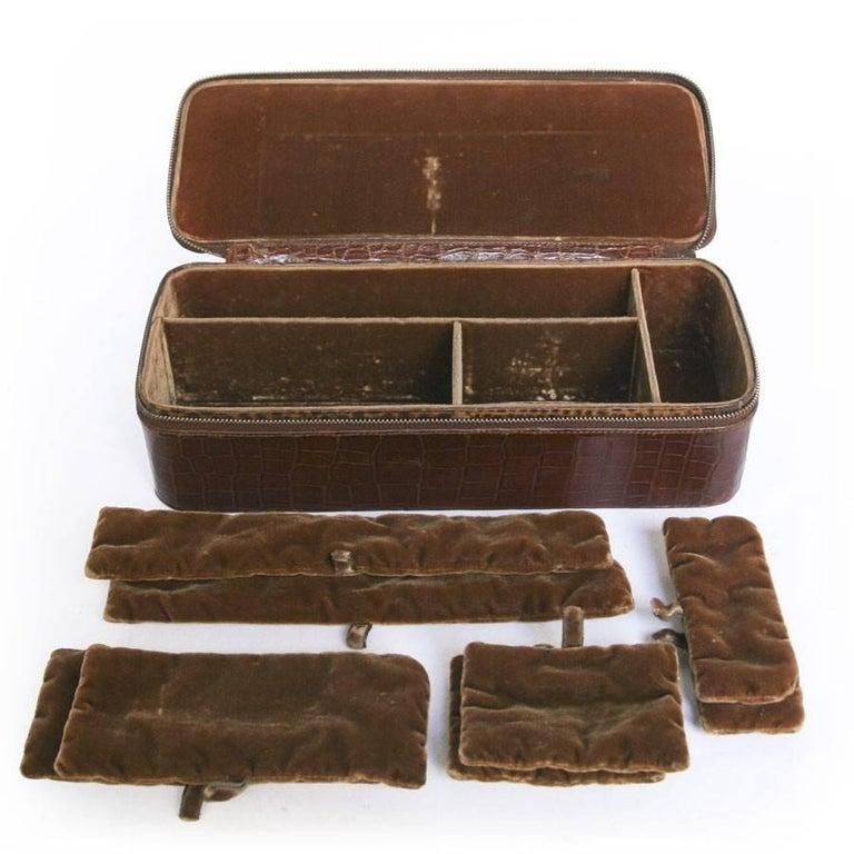 Vintage HERMES Jewelry Box in Brown Crocodile For Sale 3