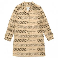 CHANEL Trench Coat in Beige and Light Brown Silk and Polyester Size 42FR