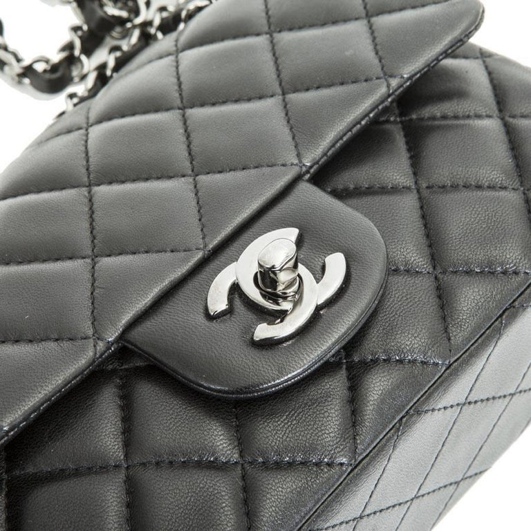 8a85c110b86e CHANEL Mini 'Timeless' Flap Bag in Quilted Smooth Black Leather For Sale 2