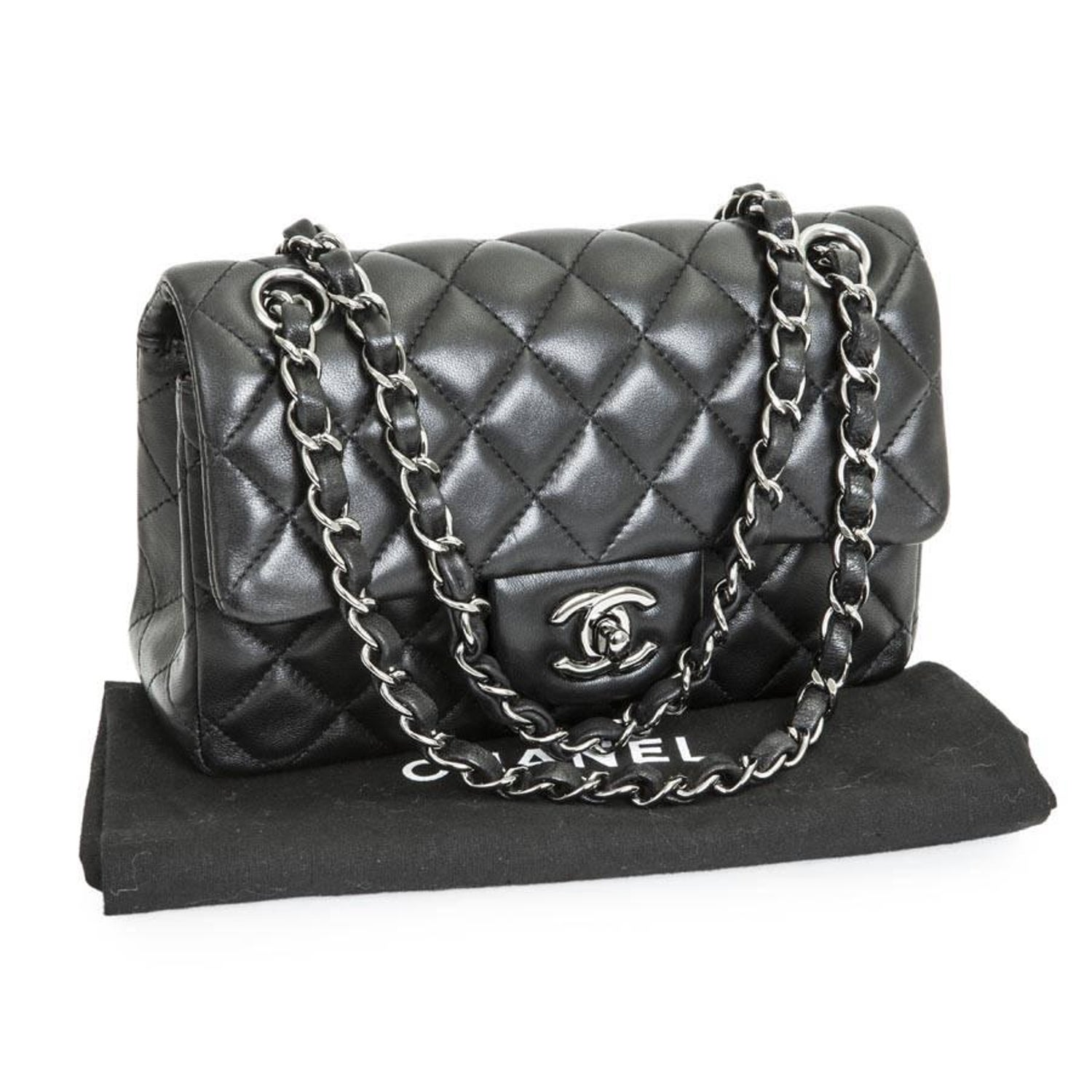 2c27dea7b01e CHANEL Mini  Timeless  Flap Bag in Quilted Smooth Black Leather at 1stdibs
