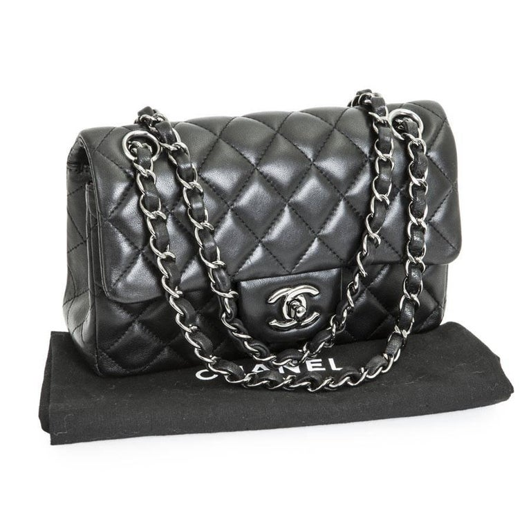 73d60609c321 CHANEL Mini 'Timeless' Flap Bag in Quilted Smooth Black Leather For Sale 3