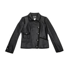 CHANEL 'Paris Los Angeles' Jacket in Asymmetrical Black Shiny Cotton Size 38FR