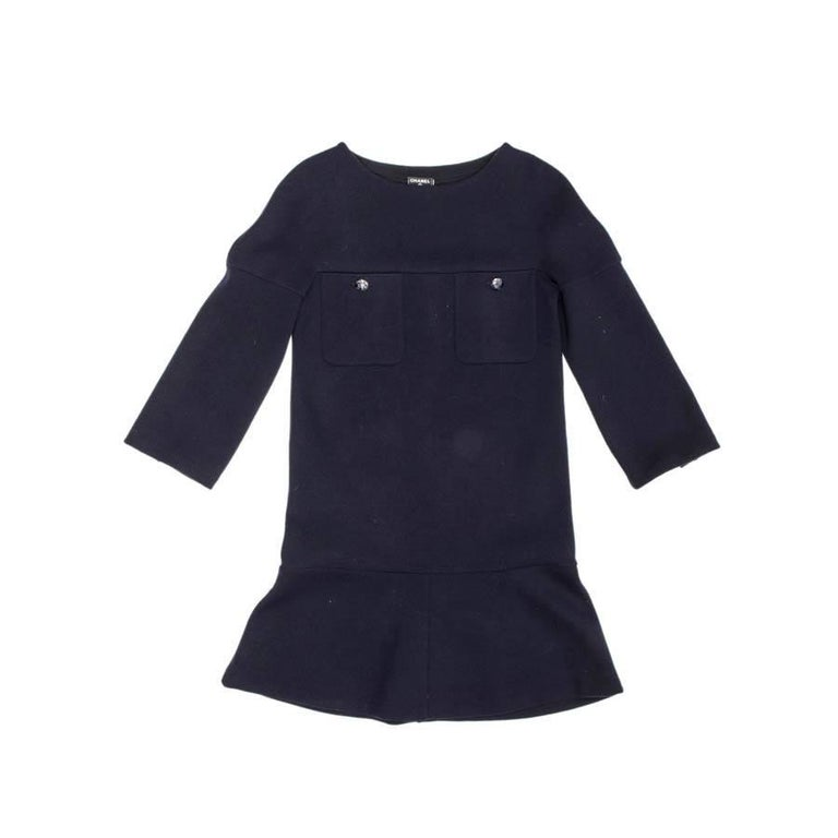 CHANEL Dress in Navy Blue Wool Jersey Size 34FR