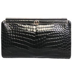 Vintage GUCCI Clutch in Black Crocodile Leather