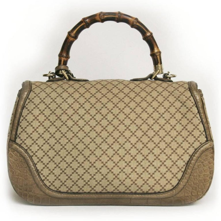 GUCCI 'Bamboo'Bag in Embroidered Beige and Brown Canvas and Beige Crocodile 3
