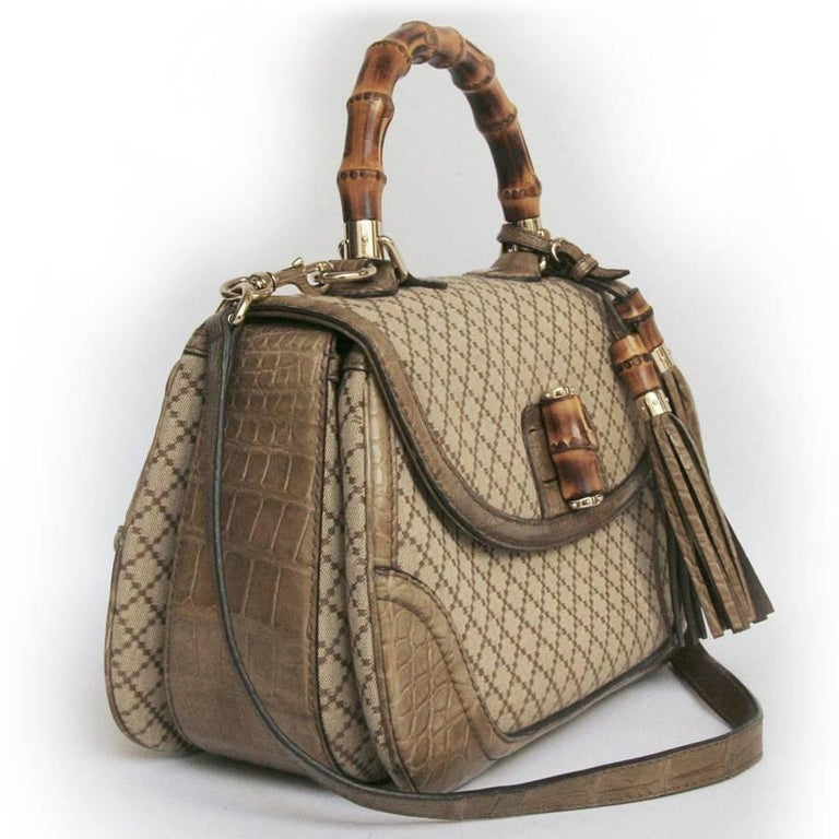 GUCCI 'Bamboo'Bag in Embroidered Beige and Brown Canvas and Beige Crocodile 4
