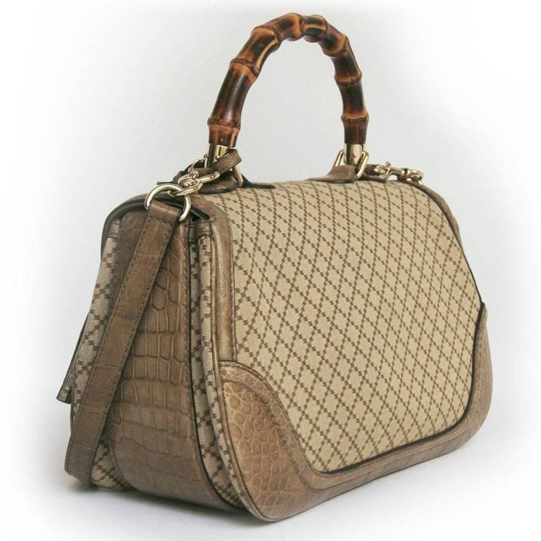 GUCCI 'Bamboo'Bag in Embroidered Beige and Brown Canvas and Beige Crocodile 5