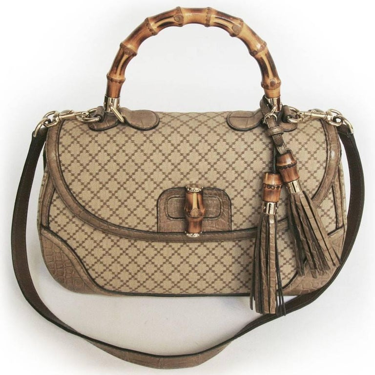 GUCCI 'Bamboo'Bag in Embroidered Beige and Brown Canvas and Beige Crocodile 8