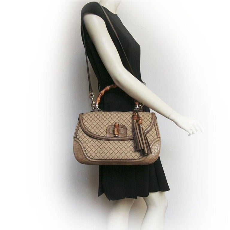 GUCCI 'Bamboo'Bag in Embroidered Beige and Brown Canvas and Beige Crocodile 9
