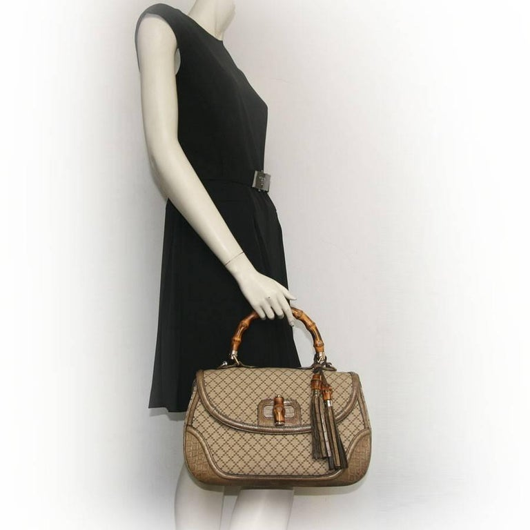 GUCCI 'Bamboo'Bag in Embroidered Beige and Brown Canvas and Beige Crocodile 2