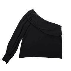 CHANEL Asymmetric Top in Black Silk Size 42EU