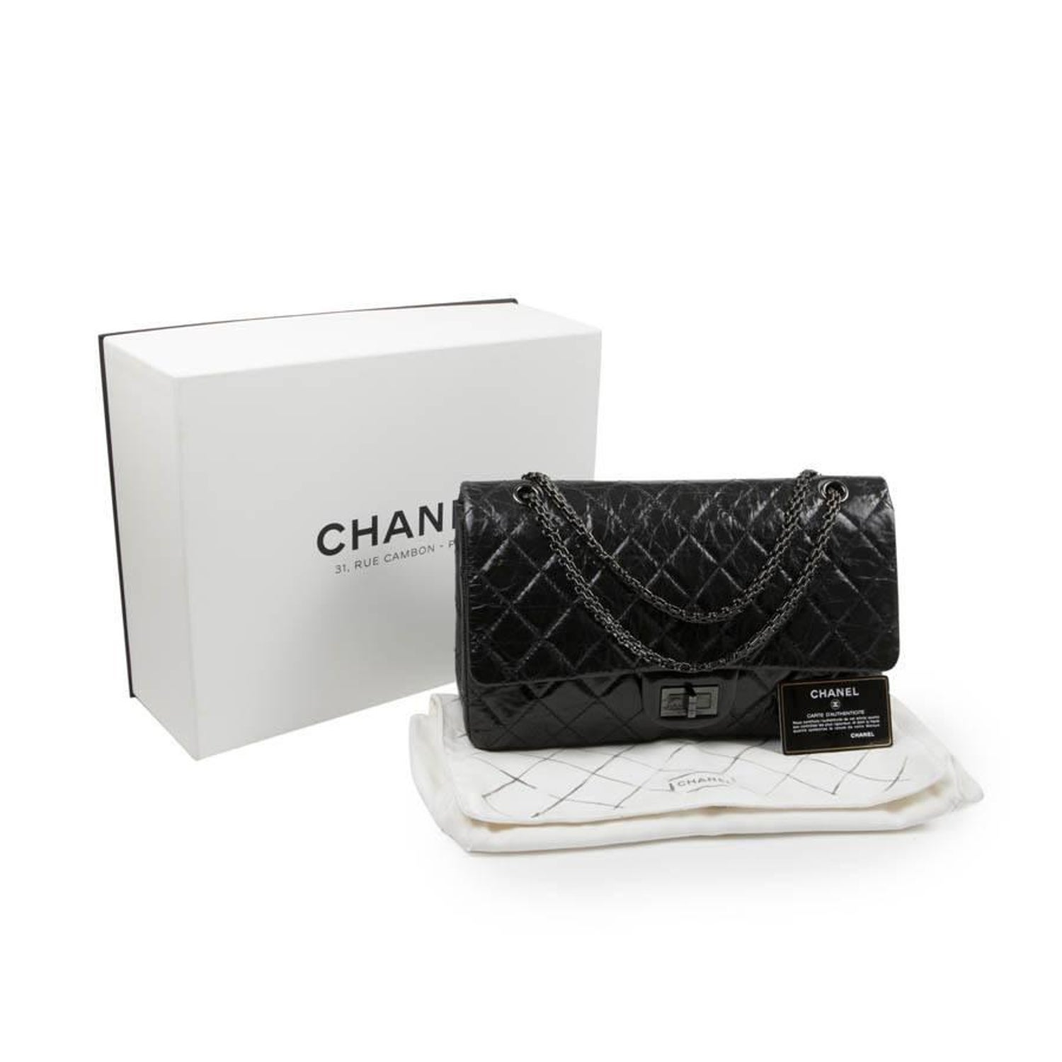 6fa333cbdacb CHANEL 2.55 Double Flap Bag in Shiny Black 'So Black' Leather For Sale at  1stdibs