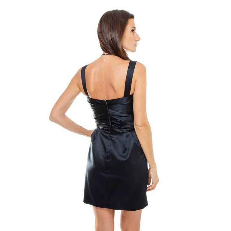 DOLCE & GABBANA Cocktail Dress in Black Silk Size 40 IT For Sale 1