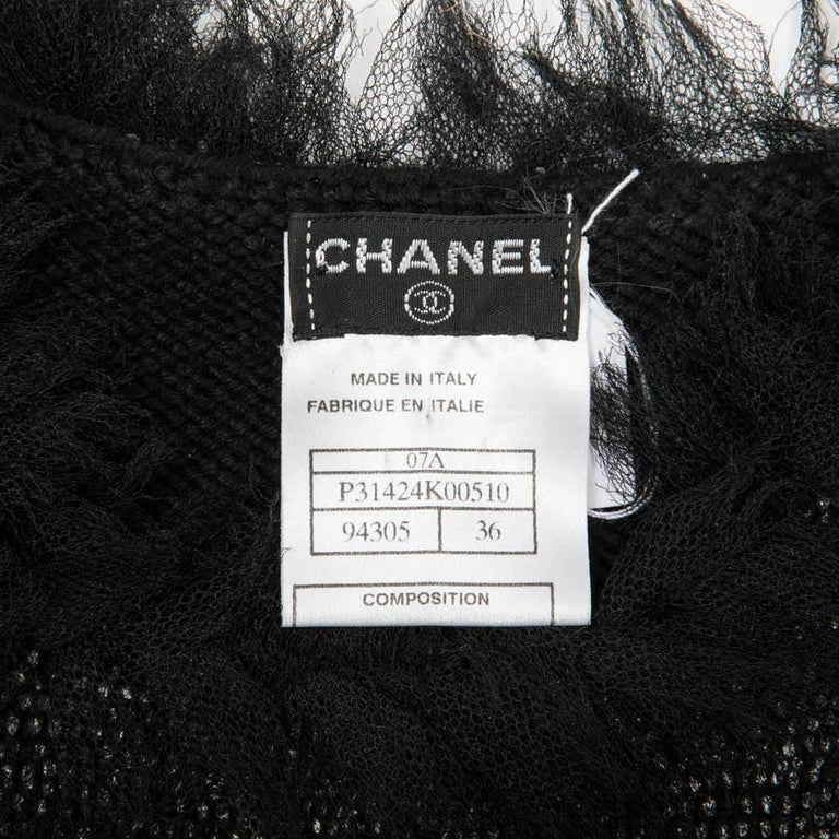CHANEL 'Paris Monaco' Black Embroidered Dress in Wool and Silk Size 36FR For Sale 4
