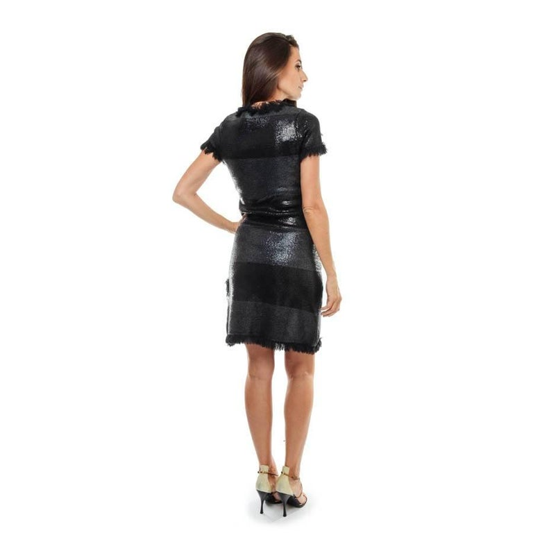 Women's CHANEL 'Paris Monaco' Black Embroidered Dress in Wool and Silk Size 36FR For Sale