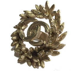 CHANEL Crown Ear of Wheat Ring in Gilded Metal Size 53FR