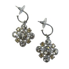 CHANEL Stud Earrings in Silver Plated Metal set with Two Colored Rhinestones