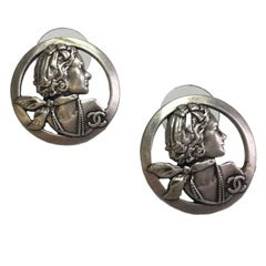 CHANEL Mademoiselle Coco Chanel Stud Earrings in Silver Plated Metal
