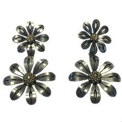 LANVIN Flower Pendant Stud Earrings in Silver Plated Metal