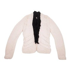 CHANEL Knitted Waistcoat in Unbleached Wool with a Black front Plastron Size 36
