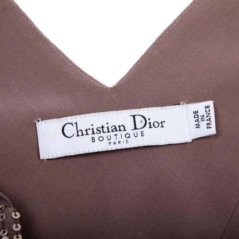 CHRISTIAN DIOR Asymmetrical Cocktail Dress in Taupe Color Silk Size 38FR For Sale 2