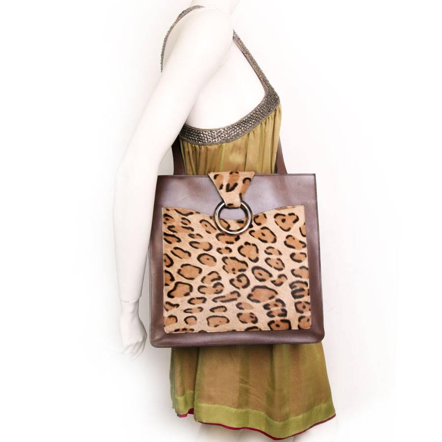 Dior Vintage Christian Dior Bag In Brown Box Leather And Leopard Pattern Skin oOOX3G