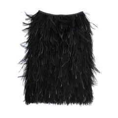 YVES SAINT LAURENT Skirt in Black Swan Feathers Size 40EU