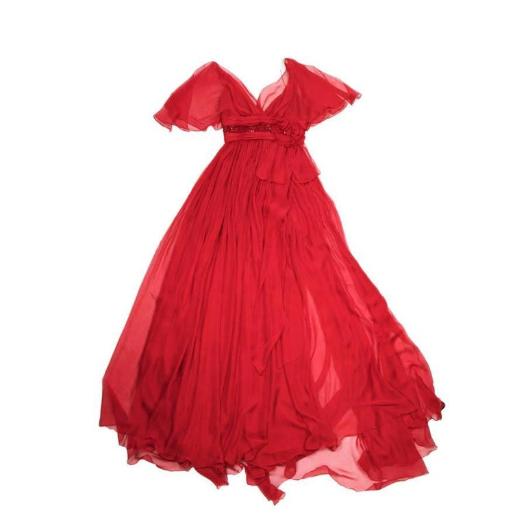 ELIE SAAB Evening Gown in Red Chiffon Size 38EU For Sale