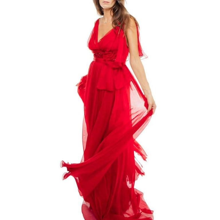 Women's ELIE SAAB Evening Gown in Red Chiffon Size 38EU For Sale