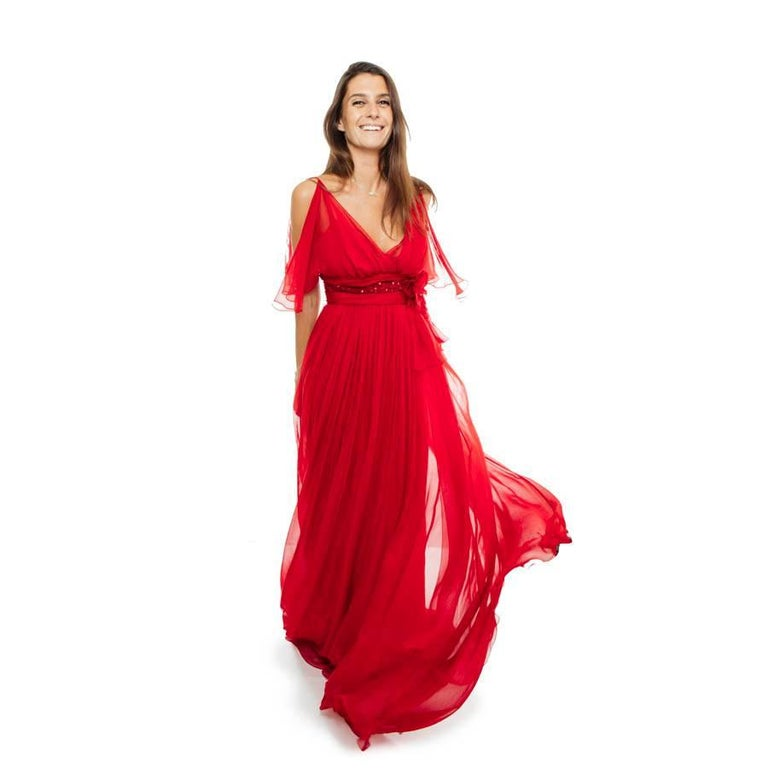 ELIE SAAB Evening Gown in Red Chiffon Size 38EU For Sale 1