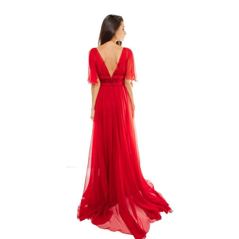 ELIE SAAB Evening Gown in Red Chiffon Size 38EU For Sale 2