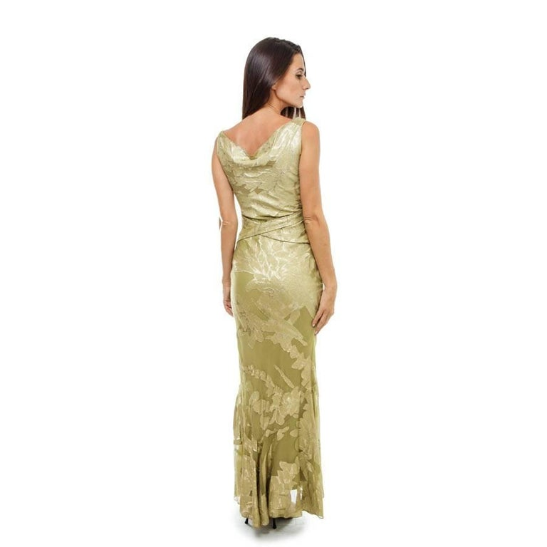 Brown CHRISTIAN DIOR Dress in Green Silk Embroidered with Gold Threads Size 36EU For Sale