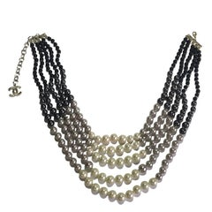 CHANEL Necklace 5 rows of Pearls of 4 Colors