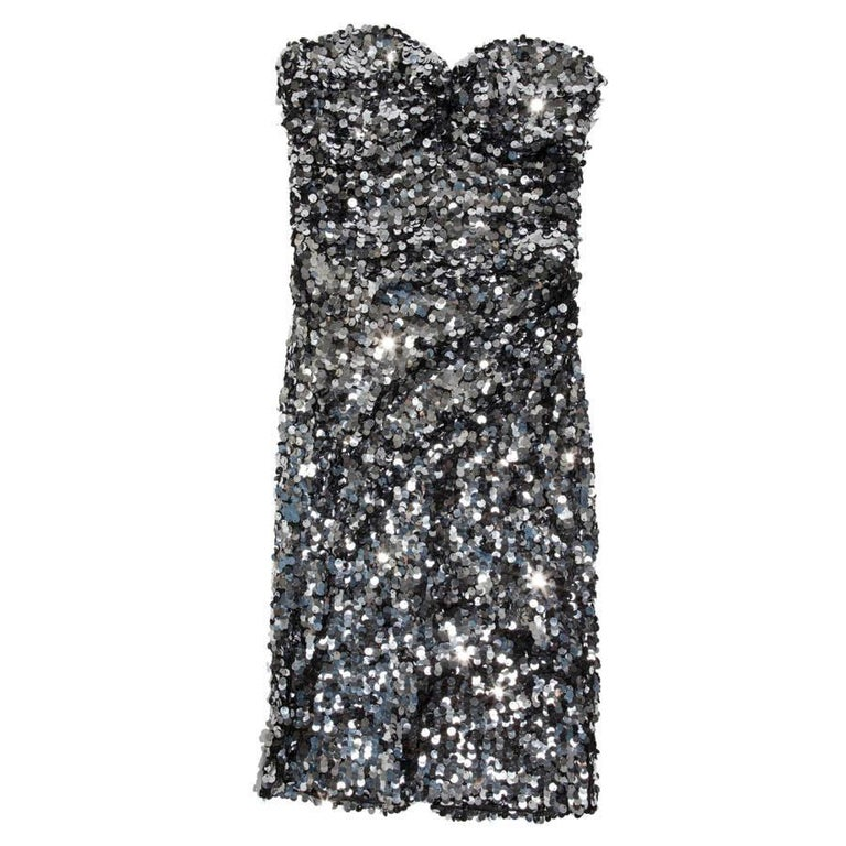 DOLCE & GABBANA Strapless Cocktail Dress Embroidered with Silver Sequins For Sale