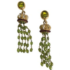 GOOSSENS Pendant Clip-on Earrings in Gilded Metal and Multicolored Fantasy Pearl