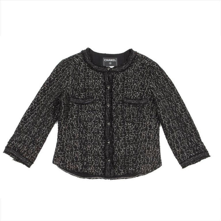 CHANEL Jacket in Black Tweed Embroidered with Silver Thread 'Coco...' Size 44 EU