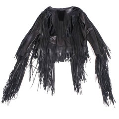 TOM FORD Top in Black Dipped Lamb and Foal Leather with Fringes Size 38EU