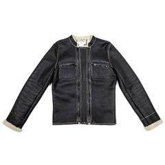 CHANEL Jacket in Black Lambskin Leather Size 42EU