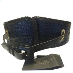 BURBERRY PRORSUM Belt in Brown, Blue, Black Leather Size 80EU