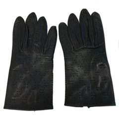 HERMES Perforated Gloves in Dark Blue Leather Size 7EU