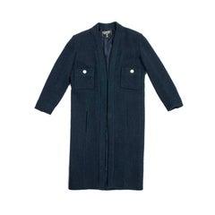 CHANEL Straight Cut Coat in Blue Wool Size 36EU