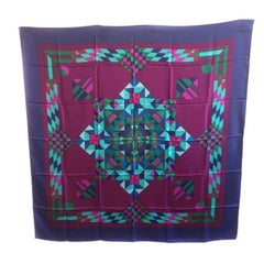 HERMES 'Psyche' Large Scarf in Purple Silk