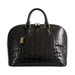Rare LOUIS VUITTON  'Alma' Handbag in Black Shiny Alligator Leather